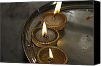 Oil Lamp Canvas Prints - Oil lamps kept in a plate as part of Diwali celebrations Canvas Print by Ashish Agarwal