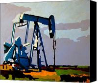 Austin Mixed Media Canvas Prints - Oil pump Canvas Print by Diana Moya