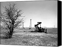 Black And White Canvas Prints - Oklahoma Oil Field Canvas Print by Larry Keahey