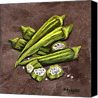 Gumbo Canvas Prints - Okra Canvas Print by Elaine Hodges
