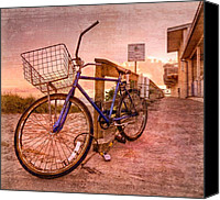 Florida Bridge Canvas Prints - Ol Bike Canvas Print by Debra and Dave Vanderlaan
