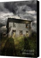 Haunted Canvas Prints - Old ababdoned house with flying ghosts Canvas Print by Sandra Cunningham