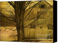 Barn Mixed Media Canvas Prints - Old and Crooked Canvas Print by Deborah Benoit