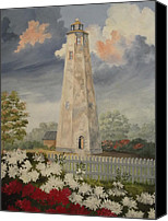 Grey Clouds Painting Canvas Prints - Old Baldy Lighthouse Canvas Print by Wanda Dansereau