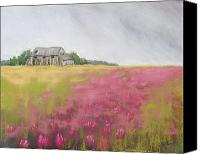 Barn Pastels Canvas Prints - Old Barn and Red Clover Canvas Print by Christine Kane