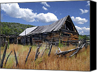 Barn Digital Art Canvas Prints - Old Barn Las Trampas New Mexico Canvas Print by Kurt Van Wagner