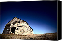 Old Wood Building Canvas Prints - Old barn on the Prairies Canvas Print by Mark Duffy