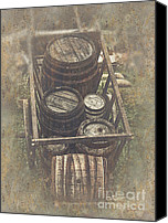 Middle Ages Digital Art Canvas Prints - Old Barrels Canvas Print by Jutta Maria Pusl