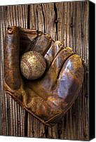Gloves Canvas Prints - Old baseball mitt and ball Canvas Print by Garry Gay