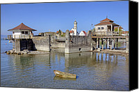 Lake Constance Canvas Prints - old bath houses in Bavaria Canvas Print by Joana Kruse