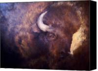 Buffalo Mixed Media Canvas Prints - Old Bison Canvas Print by Joann Shular