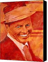 Frank Sinatra Canvas Prints - Old Blue Eyes Canvas Print by David Lloyd Glover