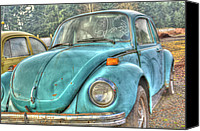Rusted Cars Digital Art Canvas Prints - Old Blue Canvas Print by Jean OKeeffe