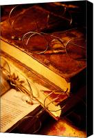 Collectibles Canvas Prints - Old books and glasses Canvas Print by Garry Gay