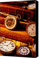 Antique Books Canvas Prints - Old Books And Pocket Watches Canvas Print by Garry Gay