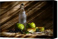 Sweet Art Canvas Prints - Old bottle with green apples Canvas Print by Sandra Cunningham