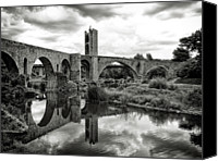 Cloud Glass Canvas Prints - Old Bridge With Reflection Canvas Print by By Gargomo