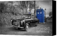 Tardis Canvas Prints - Old British Police Car And Tardis Canvas Print by Yhun Suarez
