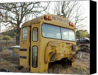 School Yard Canvas Prints - Old Bus Canvas Print by Karen Musick