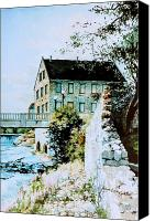 Winter Landscape Paintings Canvas Prints - Old Cambridge Mill Canvas Print by Hanne Lore Koehler