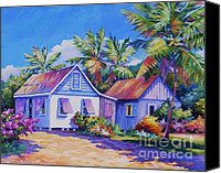 Cuba Painting Canvas Prints - Old Cayman Cottages Canvas Print by John Clark