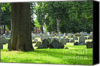 Graveyard Canvas Prints - Old cemetery in Boston Canvas Print by Elena Elisseeva