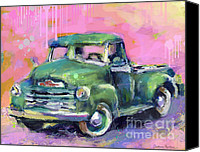 Austin Mixed Media Canvas Prints - Old CHEVY Chevrolet Pickup Truck on a street Canvas Print by Svetlana Novikova