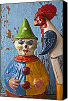 Old Wall Canvas Prints - Old Clown and Roster Canvas Print by Garry Gay