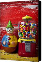 Toys Canvas Prints - Old clown toy and gum machine  Canvas Print by Garry Gay