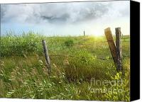 Stop Canvas Prints - Old country fence on the prairies Canvas Print by Sandra Cunningham