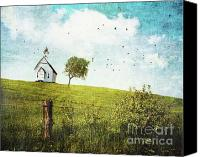 Abstract View Canvas Prints - Old country school house  on a hill  Canvas Print by Sandra Cunningham