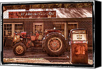 Red Tractors Canvas Prints - Old Days Vintage Canvas Print by Debra and Dave Vanderlaan
