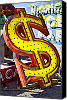 Signage Photo Canvas Prints - Old dollar sign Canvas Print by Garry Gay