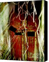 Creepy Digital Art Canvas Prints - Old Door set Two Haunted Canvas Print by Kathy Daxon