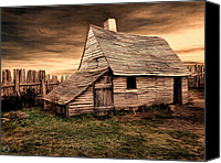 Barn Digital Art Canvas Prints - Old English Barn Canvas Print by Lourry Legarde
