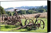 Tractor Wheel Canvas Prints - Old Farm Equipment . 7D9744 Canvas Print by Wingsdomain Art and Photography