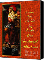 Santa Claus Canvas Prints - Old Fashioned Santa Christmas Card Canvas Print by Lois Bryan