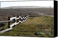 Point Reyes National Seashore Canvas Prints - Old Fence And Landscape Along Sir Francis Drake Boulevard At Point Reyes California . 7D9897 Canvas Print by Wingsdomain Art and Photography