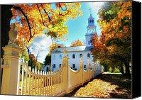Vermont Autumn Foliage Canvas Prints - Old First Church of Bennington Canvas Print by Thomas Schoeller