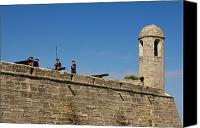 Castle Pyrography Canvas Prints - Old fort in St. Augustine in Florida Canvas Print by Les Palenik