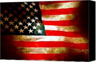 America Tapestries Textiles Canvas Prints - Old Glory Patriot Flag Canvas Print by Phill Petrovic