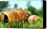Glove Canvas Prints - Old glove and baseball  Canvas Print by Sandra Cunningham