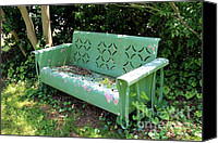 Old Things Canvas Prints - Old Green Bench Canvas Print by Pauline Ross