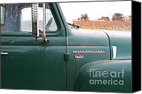 Old American Truck Canvas Prints - Old Green International Harvester Farm Truck . 7D10311 Canvas Print by Wingsdomain Art and Photography