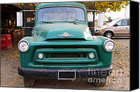 Old American Truck Canvas Prints - Old Green International Harvester Farm Truck . 7D10314 Canvas Print by Wingsdomain Art and Photography