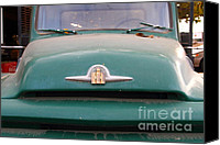 Old American Truck Canvas Prints - Old Green International Harvester Farm Truck . 7D10315 Canvas Print by Wingsdomain Art and Photography