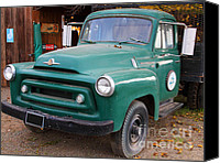 Old American Truck Canvas Prints - Old Green International Harvester Farm Truck . 7D10316 Canvas Print by Wingsdomain Art and Photography