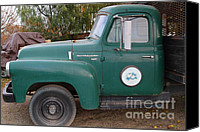 Old American Truck Canvas Prints - Old Green International Harvester Farm Truck . 7D10318 Canvas Print by Wingsdomain Art and Photography