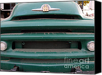 Old American Truck Canvas Prints - Old Green International Harvester Farm Truck . 7D10319 Canvas Print by Wingsdomain Art and Photography