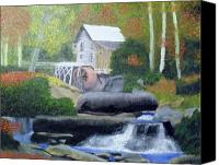 State Park Painting Canvas Prints - Old Grist Mill Canvas Print by John Smith